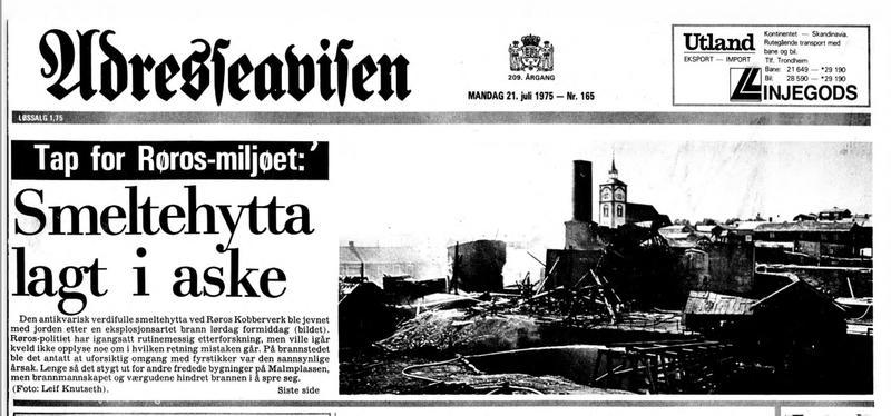 Faksimile av Adresseavisa 21. juli 1975 om brannen i smeltehytta på Røros
