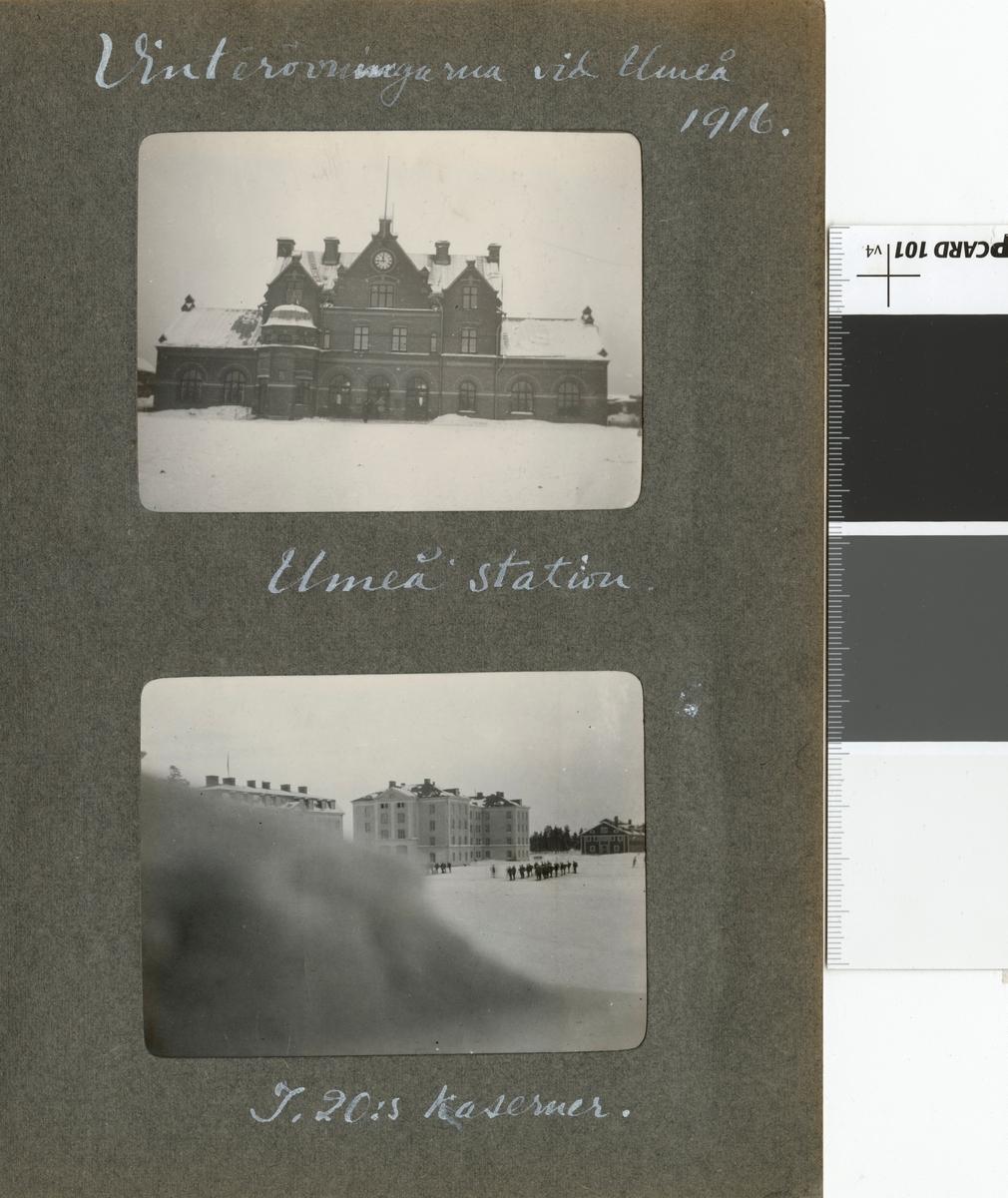 "Text i fotoalbum: ""Vinterövningarna vid Umeå 1916. Umeå station."""