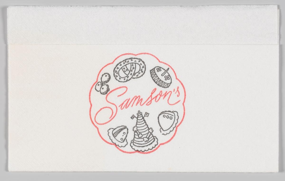 Tegninger av kaker og reklameteksten Samson`s  Wilhelm Bismark Samson startet sitt første bakeri i 1894 på Egertorget i Kristiania.  Reklame for Samson på serviettene MIA.00007-004-0001 til MIA.00007-004-0006