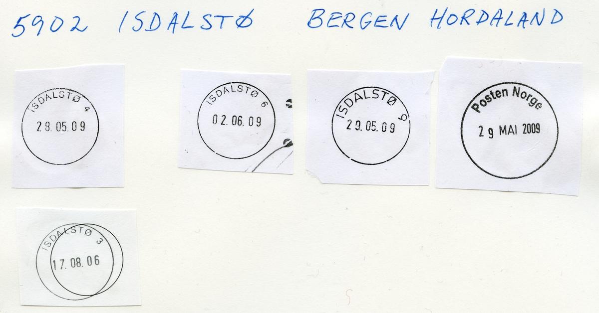 Stempelkatalog. 5100 Isdalstø, Bergen postk., Lindås kommune, Hordaland