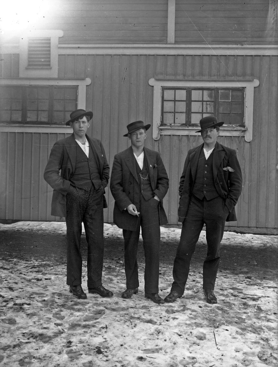 Bröderna Lindberg framför en av Österbodarnes ekonomibyggnader (bl a vagnslider, bostad för kusk och inspektor).   Från vänster Arthur Lindberg som blev televerksarbetare, Erik Lindberg som blev kvar som lantarbetare/statare på Österbodarne hela sitt liv och Hjalmar Lindberg som blev rallare, men som kom hem för att arbeta på gården då och då.