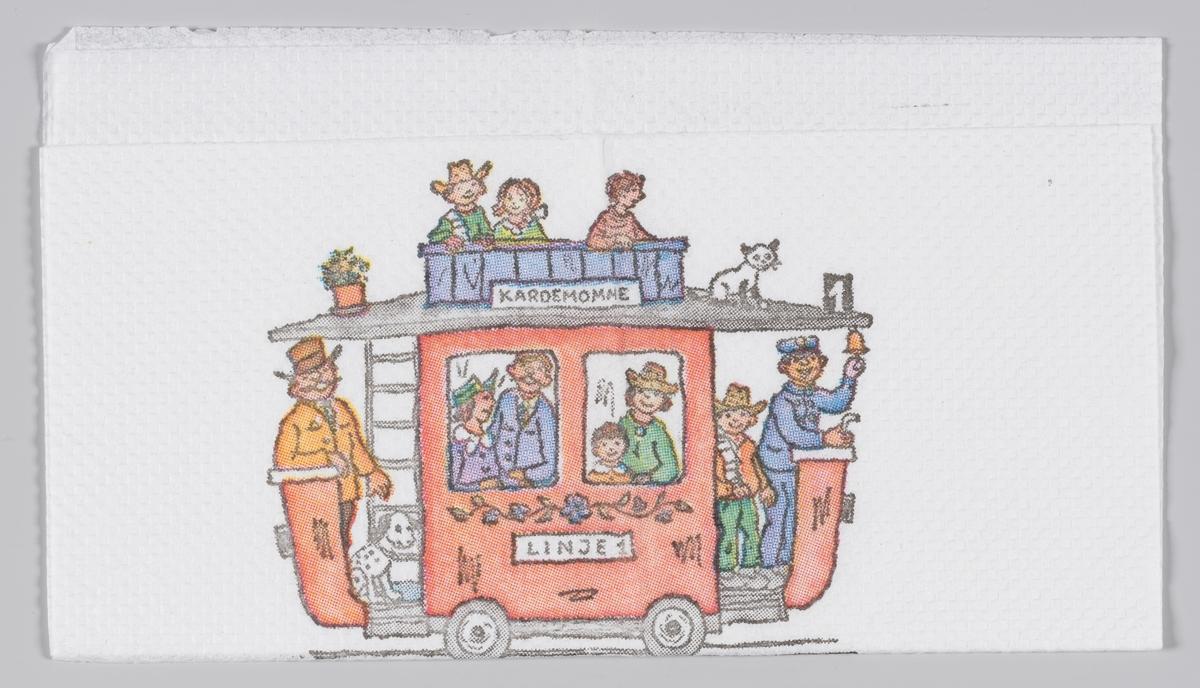 Linje 1 med mange mennesker og Kardemommesangen som reklame for Kardemomme by i Dyreparken i Kristiansand.  Folk og røvere i Kardemomme by er en barnebok av Thorbjørn Egner. Boken utkom i 1955.  Kristiansand Dyrepark er en kombinert dyre- og fornøyelsespark.  Reklame for Dyreparken på MIA.00007-004-0210; MIA.00007-004-0212.