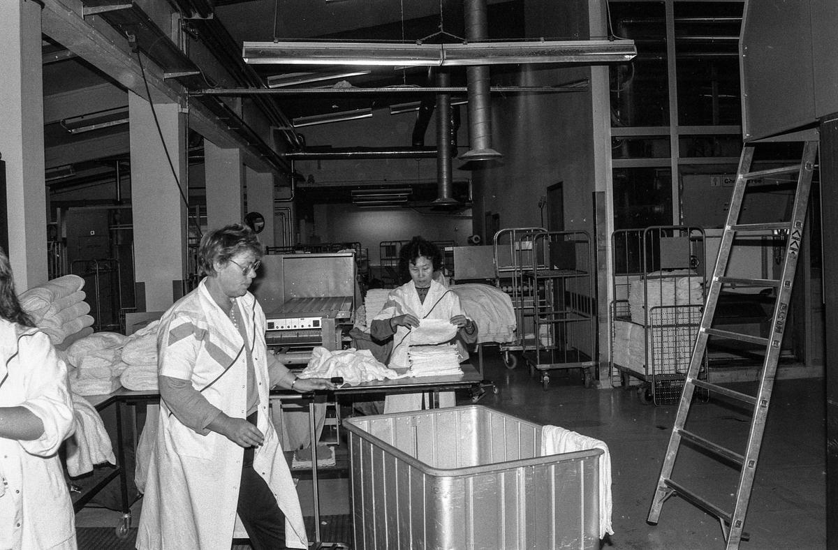 Østlandsvaskeriet i Ski ønsker å utvide bedriften på Folkestadjordet. Produksjonssjef Leif Myhre og hans stab vasker for millioner i året. damer som bretter og ordner med tøy.