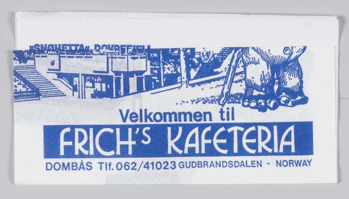 En stor troll, en kafeteriabygning, et veiskilt og Dovrefjell med en moskusokse og en rein og reklametekst for Frich`s kafeteria på Dombås.