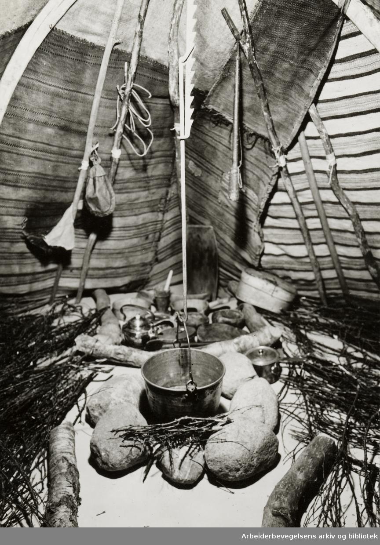 Bygdøy Folkemuseum. Ny samisk avdeling. Fjellsametelt. April 1953