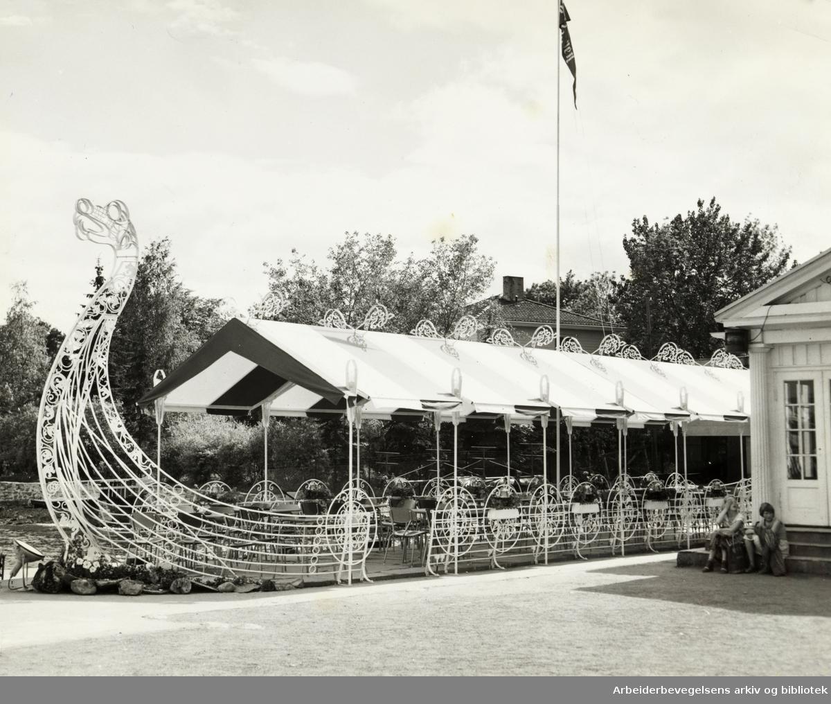 Bygdøy. Vikingskipsrestauranten. Juni 1957