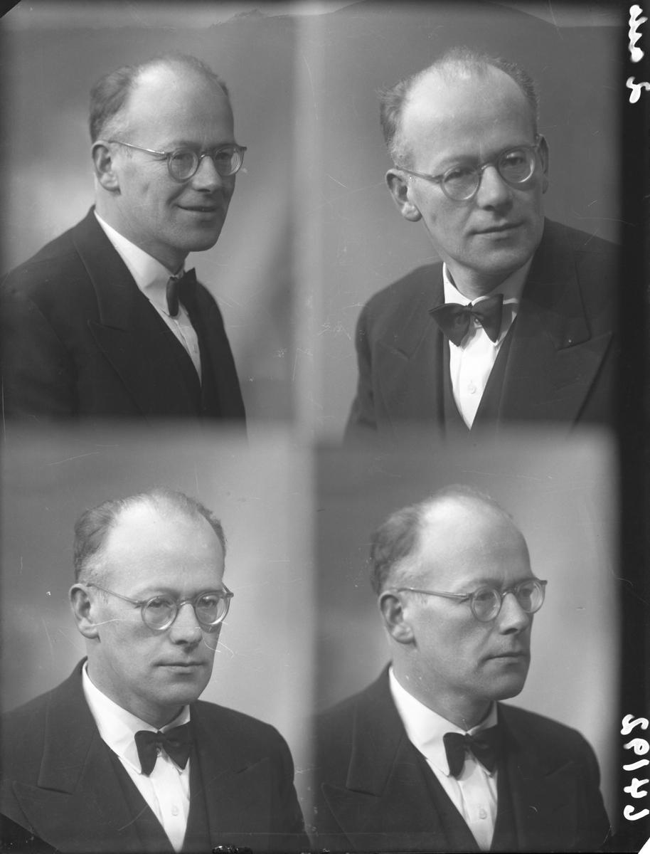 Portrett. Mann med lite hår og med briller ikledd mørk smoking, hvit skjorte og mørk sløyfe.  Bestilt av Gustav Styve