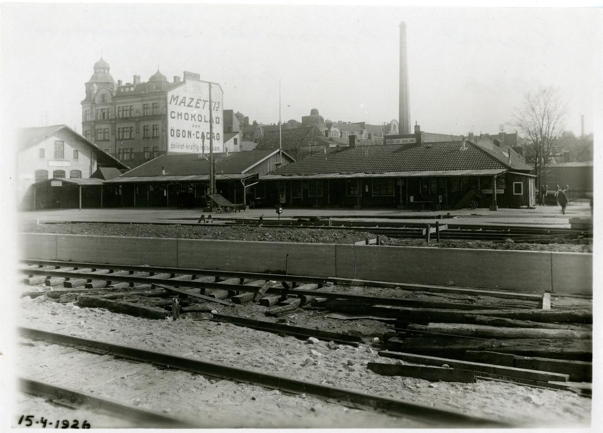 Provisoriska stationshuset--från väster