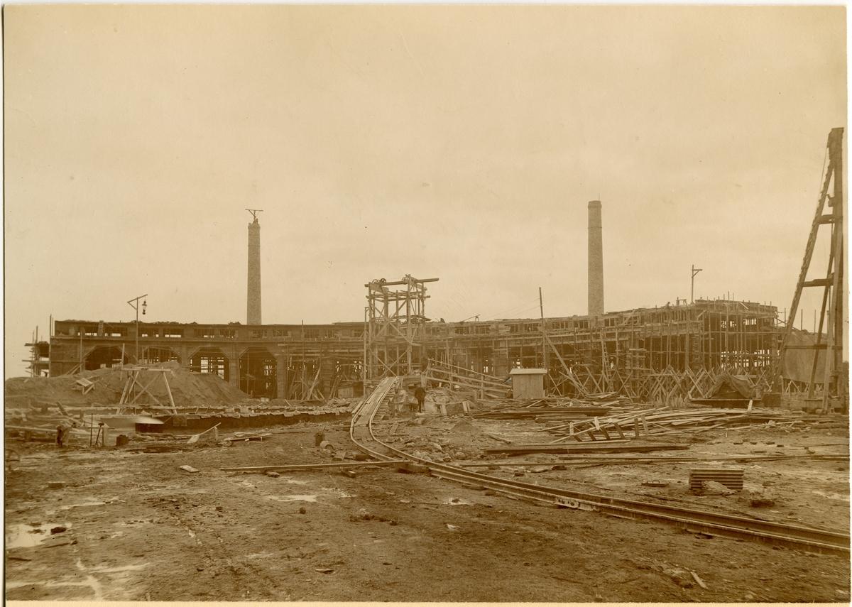 Norrköpings lokstallar under byggnad