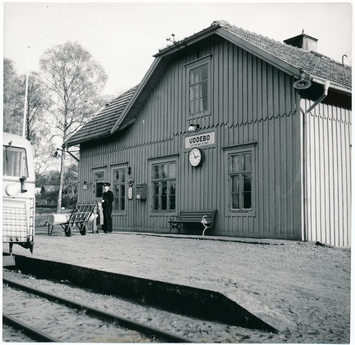 Uddebo station, konduktör Sten Järneberg, nedläggning av Falkenberg-Limmared 1/11 1959-16/12 1960