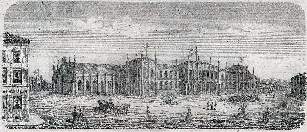 Bangården i Göteborg, litografi år 1857. Foto ur illustrerad tidning 1859