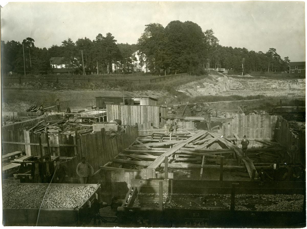Gasverket vid Frösunda under byggnationen.