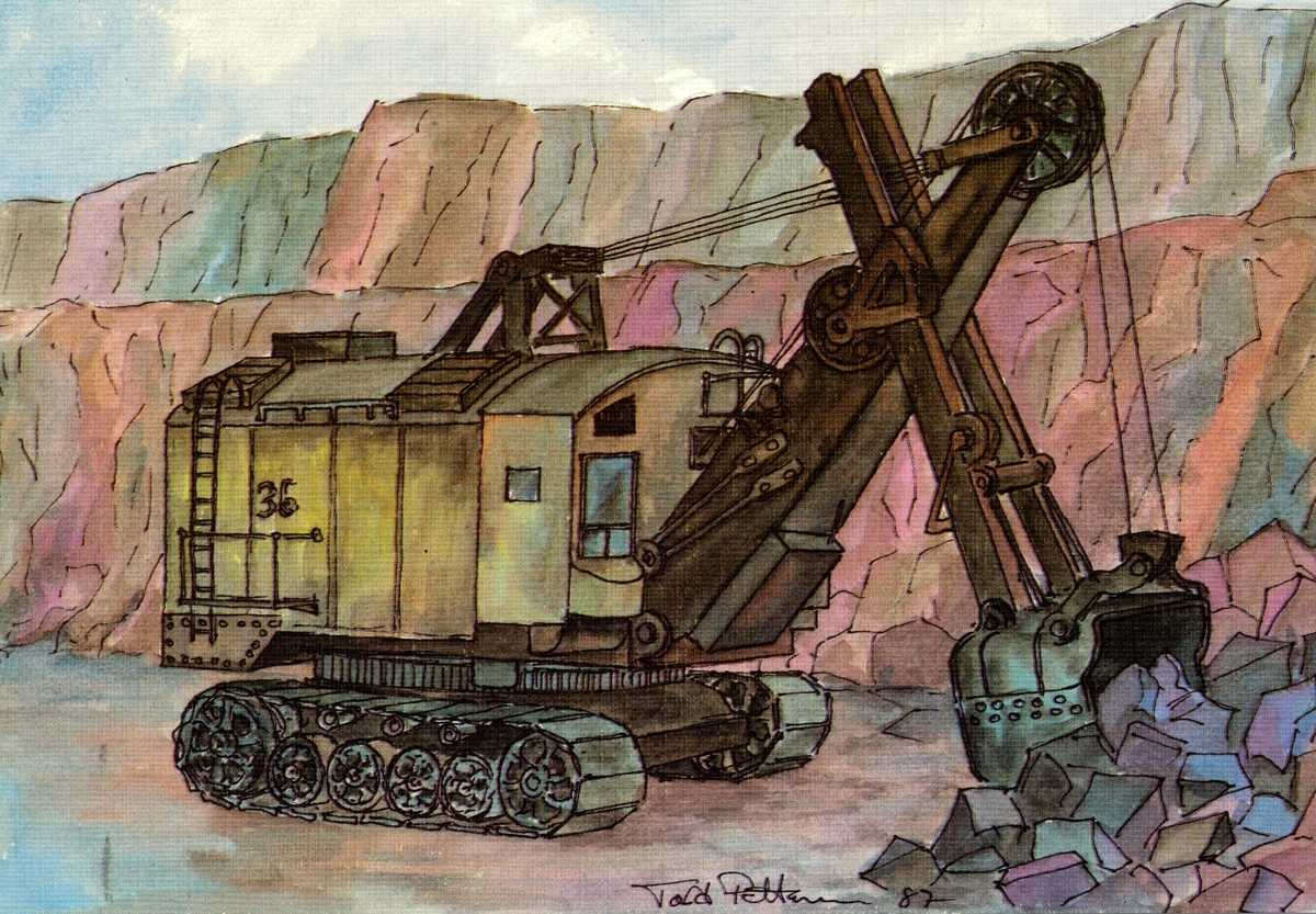 Den första grävmaskinen i Kiruna-gruvan.