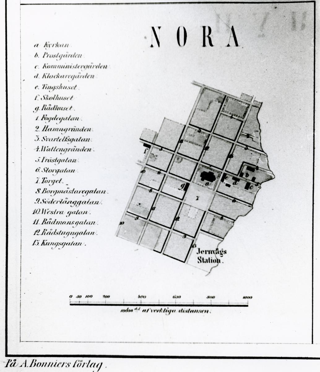 Nora stad vid tiden för Nora Ervalla järnvägs anläggande