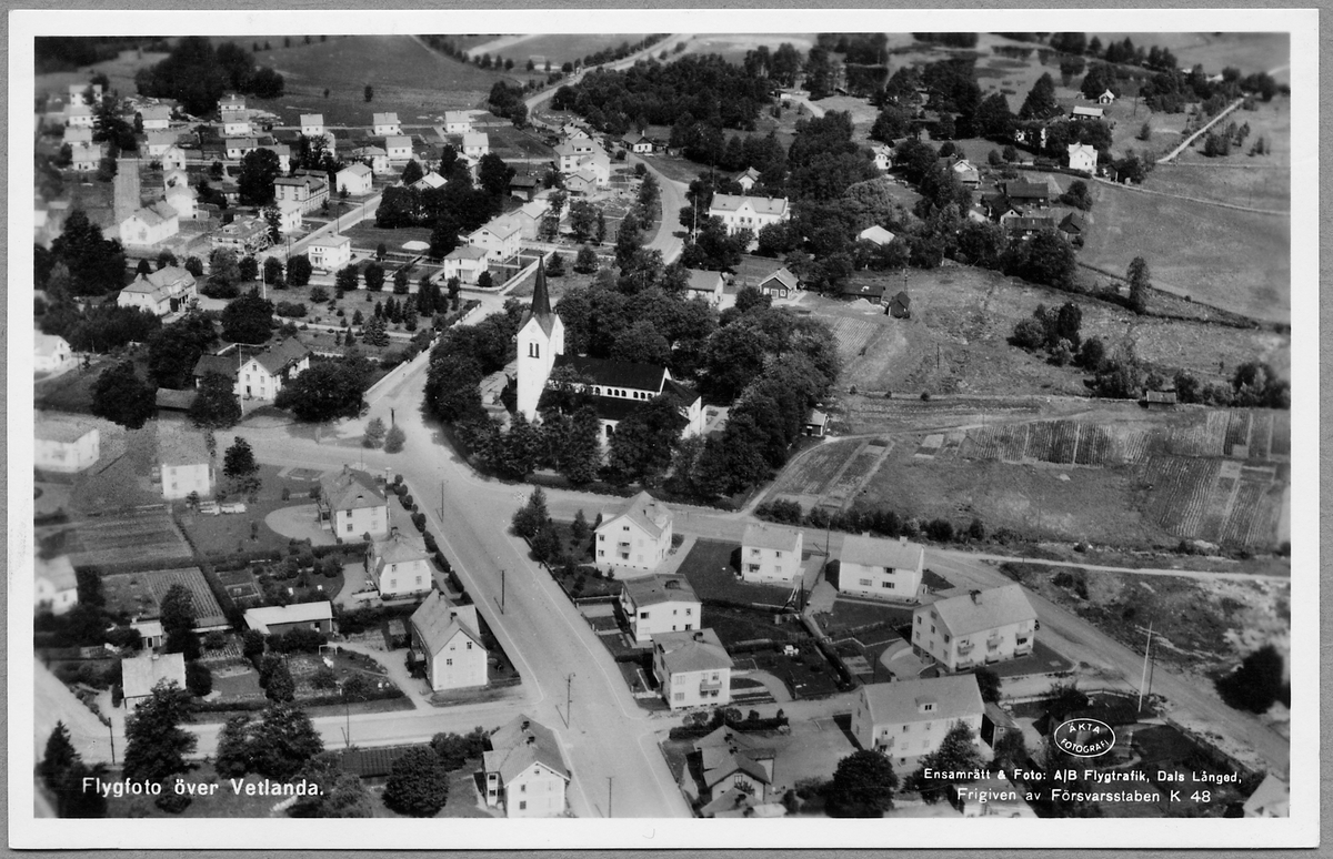 Flygfoto över Vetlanda.