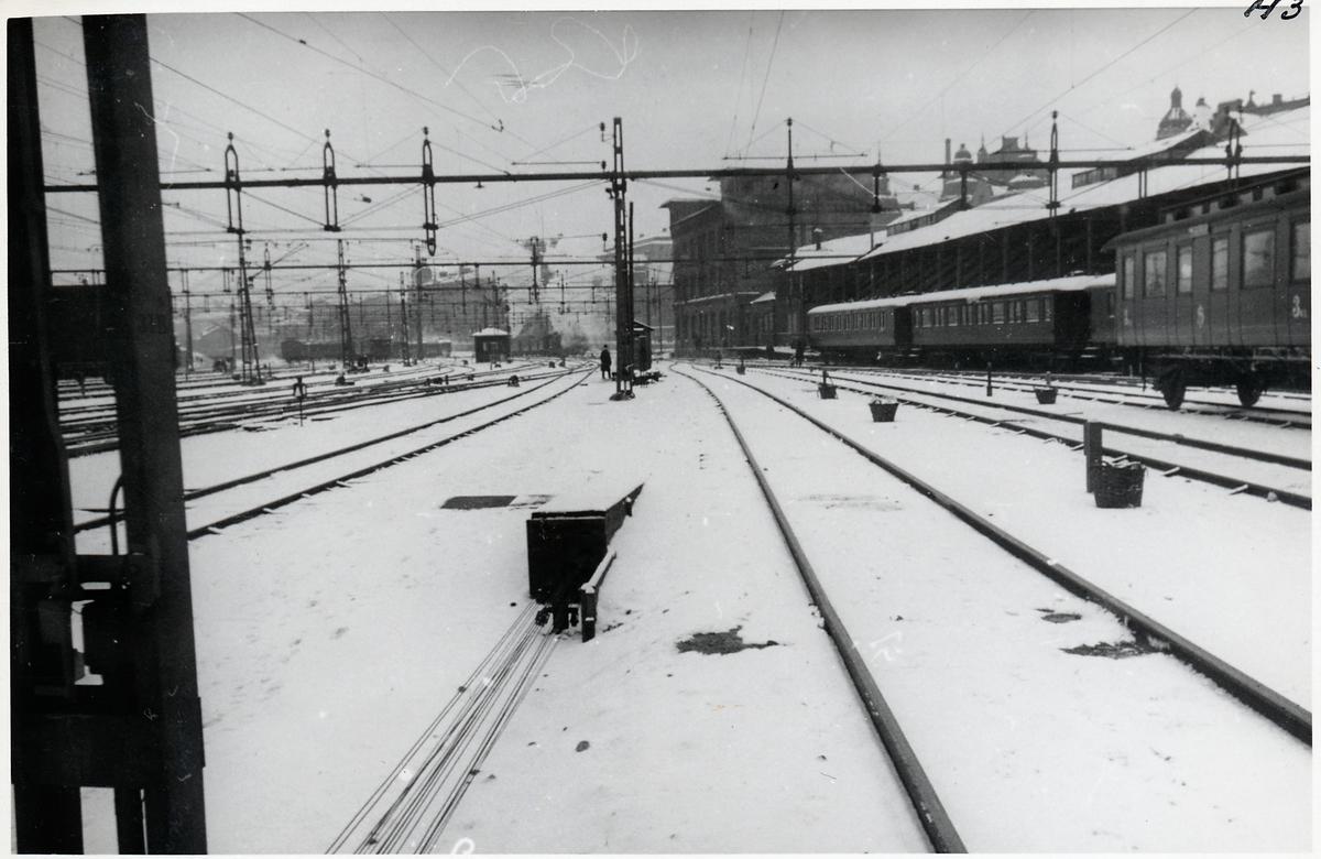 Del av bangården vid Stockholm centralstation. Norra bantorget.