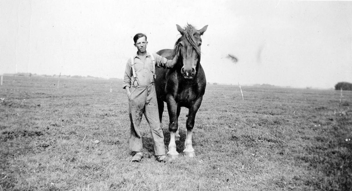 Sven Karlsson fotograferad i djurgårdshagen med en häst. Troligen i trakten av Grästorp.