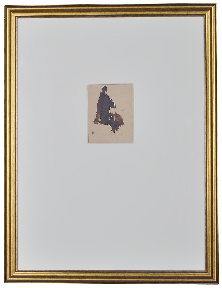 Tuschlavering på papper av konstnär Harald Jürissaar, signerad H Jürissaar i mitten nedtill.