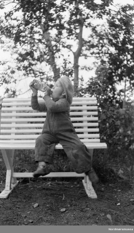 Gutt som drikker brus på en hagebenk. Fra Sverdrupsamlingen ved Nordmøre museums fotosamlinger.