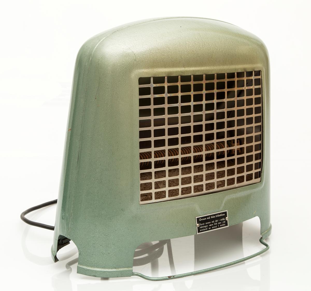 Elektrisk gulvovn. Grønnlakkert, varmesprinkler i front.