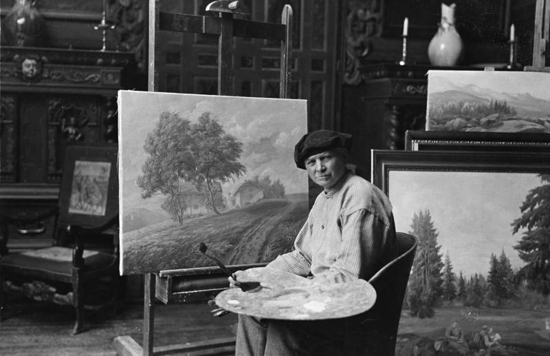Otto Valstad i atelieret sitt på Hvalstad.