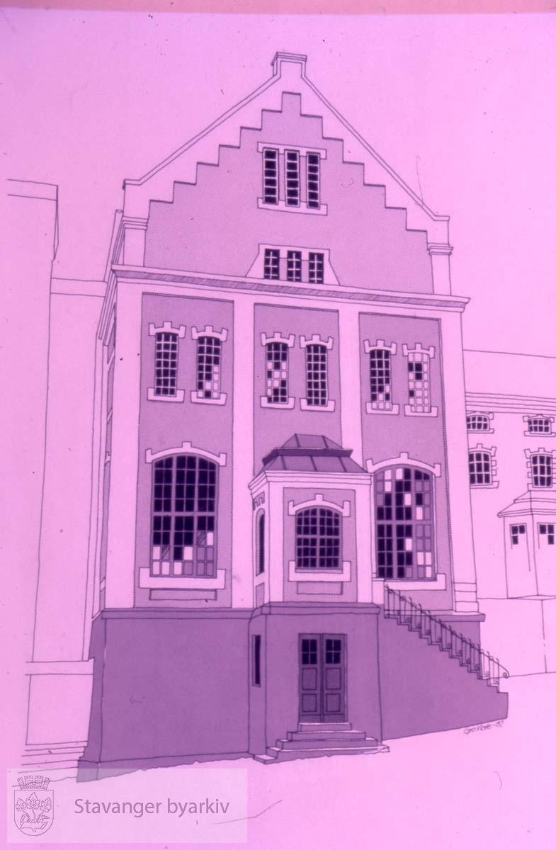 Tegning av fasaden på Tou bryggeri