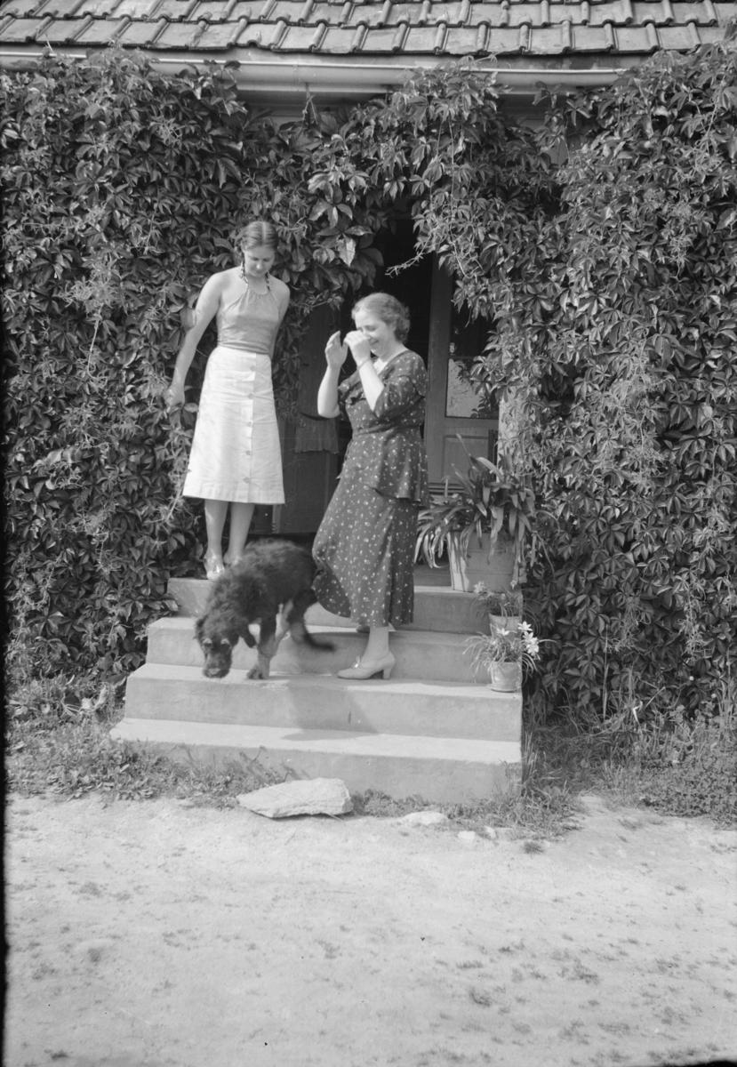 To kvinner og hund på trappa foran et hus