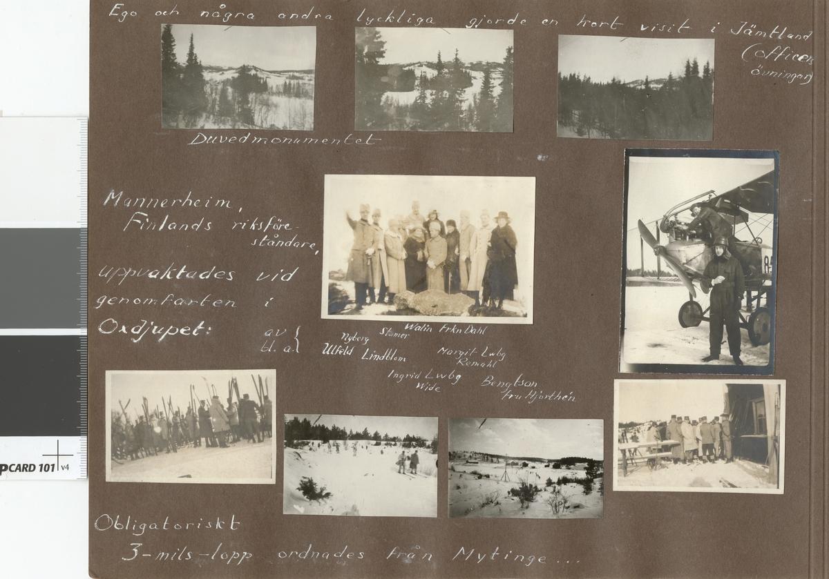 """Text i fotoalbum: """" Mannerheim Finlands riksföreståndare, uppvaktadfes visd genomfarten i Oxdjupet."""""""