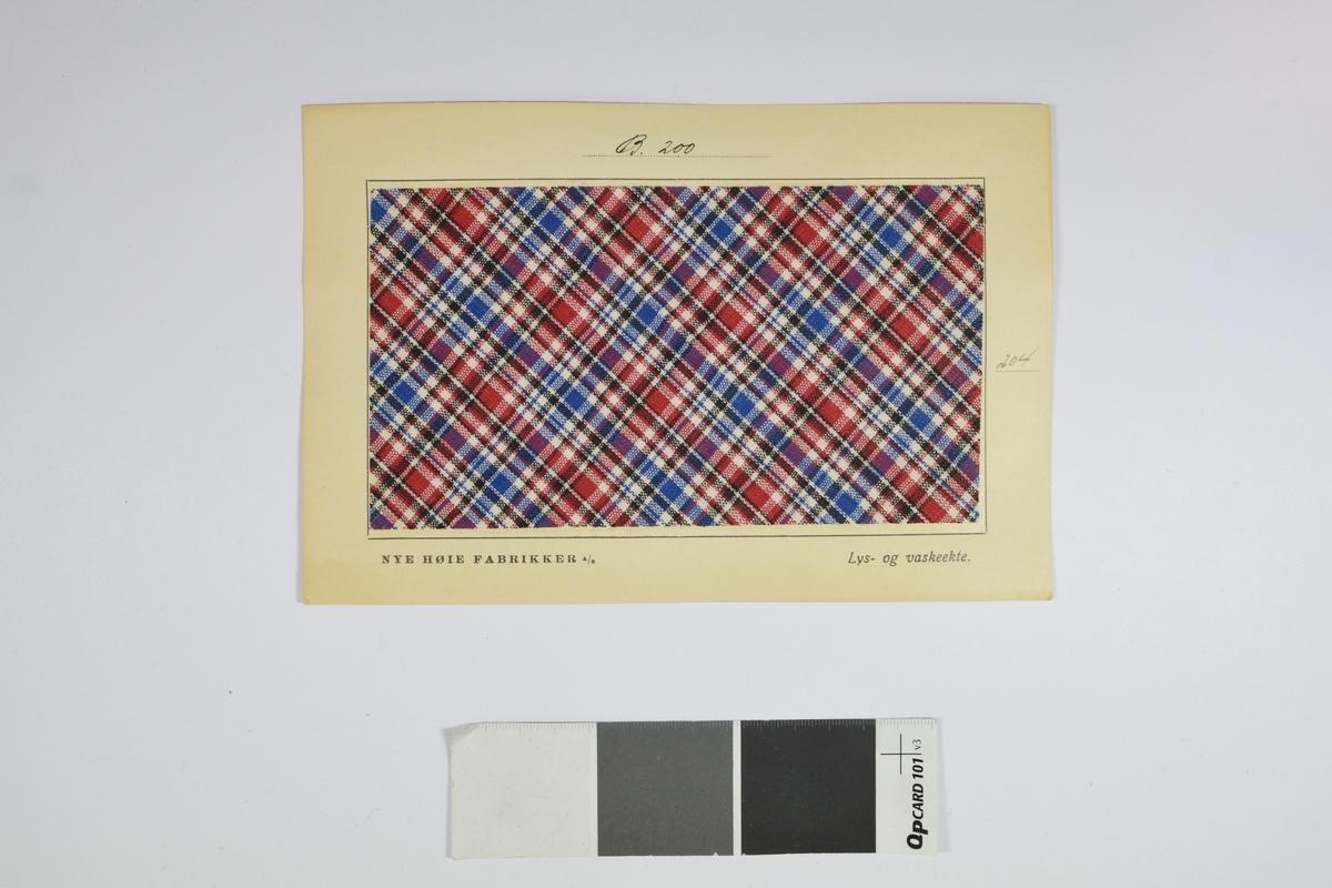 Prøvekort bestående av tekstilprøve limet til et papirkort.