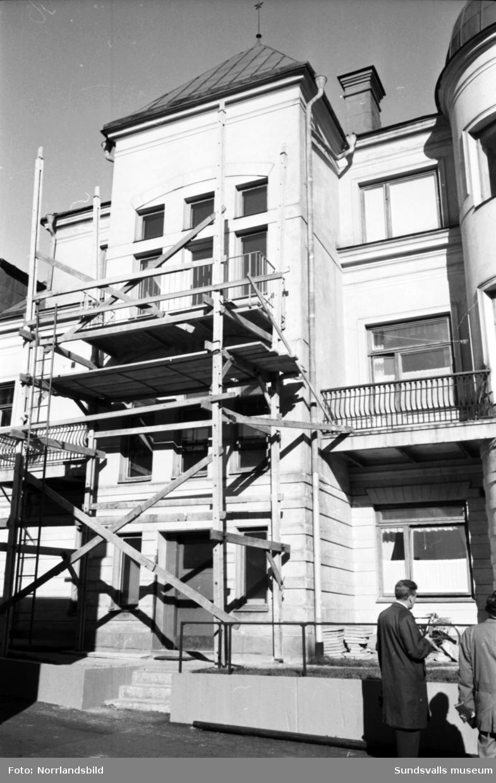 Renoveringsarbeten på bryggeri Nordstjernans gamla disponentvilla och kontor vid Storgatan 51.