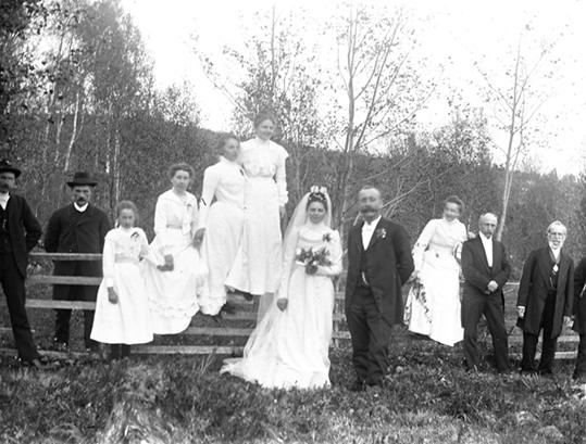 Bröllop, gruppfoto utomhus. Riddarhyttan.