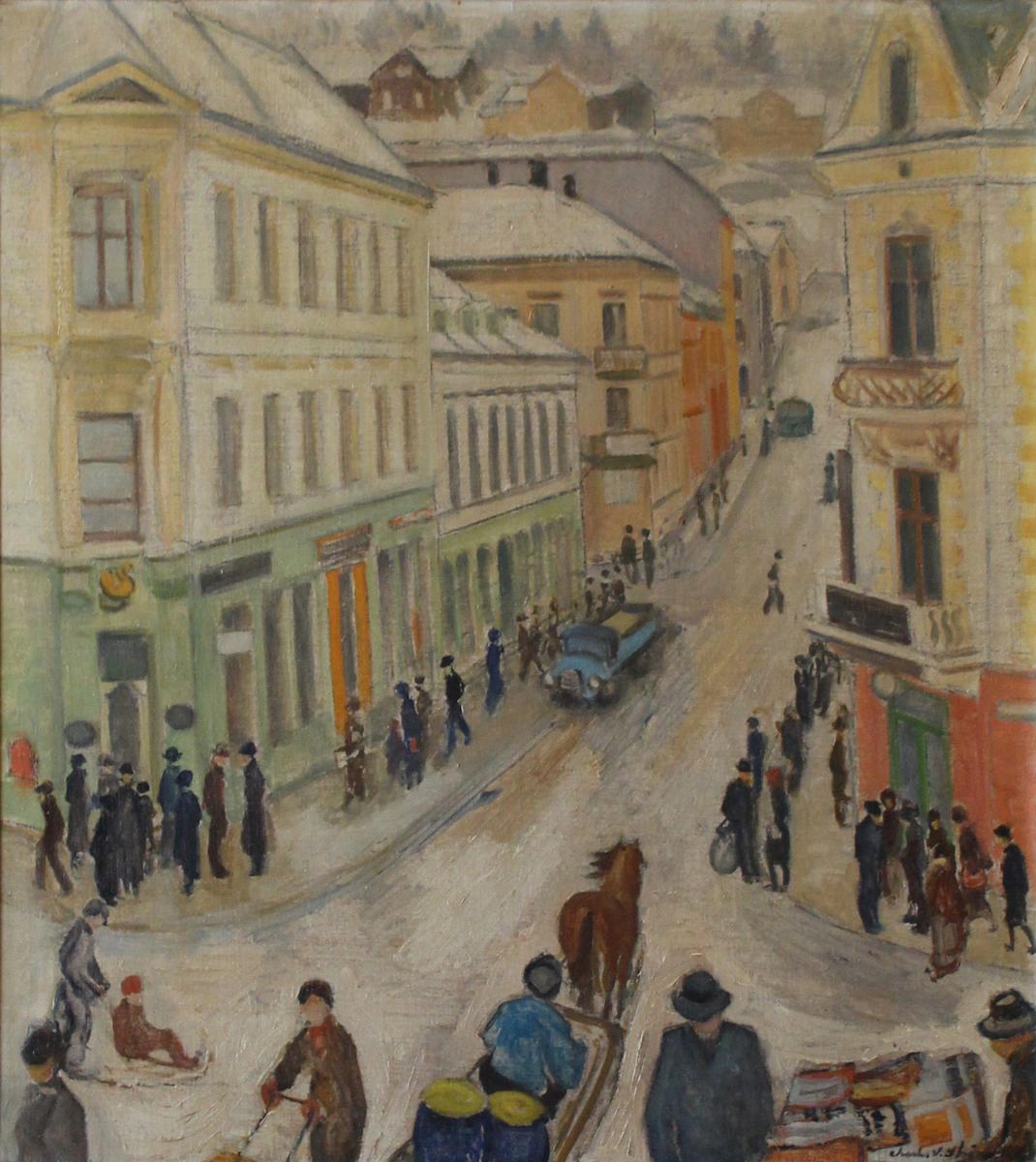 Charles Strøm debuterte på Høstutstillingen i 1911 og vekket oppmerksomhet med arbeidene «Midtsommerdag» og «Løvtunge trær». Hans første separatutstilling (Kunstnerforbundet, Oslo) i 1916 ble et gjennombrudd. Hans tidlige malerier bar tydelig merke av innflytelse fra Chr. Krohg og Hans Heyerdahl. Etter en studietur til Paris i 1913 var han en kort tid påvirket av fransk kunst, især av Paul Gauguin.   I 1920-årene kom Strøm for første gang til Telemark og vendte senere tilbake hver sommer. I mellomkrigstiden kjøpte han en nedlagt fjellgard, Kleivberg i Flatdal, hvor han tilbrakte store deler av året og malte landskap og interiører i tillegg til figurkomposisjoner og portretter. Også byprospekter inngikk i motivkretsen.   Strøm holdt fast ved det naturalistiske formspråk, gjerne med en impresjonistpreget oppdeling av fargen. I årene etter 2. verdenskrig ble koloritten lysere, og omkring 1950 prøvde han å stramme inn formen ved en mer bevisst komposisjon med vekt på linjespillet. Strøm drev i mange år en liten malerskole. Blant elevene var Harald Kihle og Kåre Martinsen.  Kilde:  Wikborg, Ingeborg. (2014, 21. desember). Charles Strøm. I Norsk kunstnerleksikon. Hentet 22. april 2019 fra https://nkl.snl.no/Charles_Str%C3%B8m