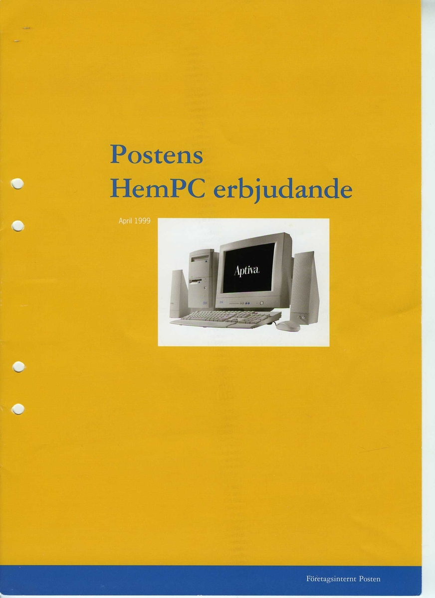 """IBM Aptiva hemdator.   Centralenhet: IBM Aptiva. Minitower. Märkt """"Posten Inventarie Nr. 6046"""" Skärm: IBM. Modell: 2262-015. Tillverkningsdatum: 1996-04 Tangentbord: IBM Modell: KB-8926. Tillverkningsdatum: 1996-09 Högtalare: IBM.2 st.  Mus IBM.  Disketter och CD-skivor med program samt manualer och kringdokumentation."""