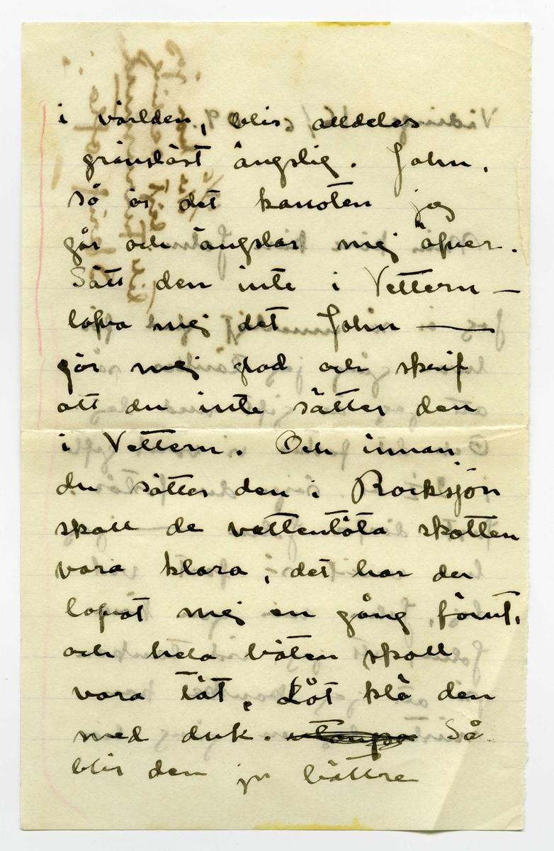 Brev 1909-06-16 från Ester Bauer till John Bauer, bestående av tolv sidor skrivna på fram- och baksidan av tre pappersark, två av dem vikta. Tredje och fjärde sidan av brevet saknas. Huvudsaklig skrift handskriven med svart bläck. Brevet saknar underskrift. Handstilen tyder på Ester Bauer som avsändare.  . BREVAVSKRIFT: . [Sida 1] [inskrivet på höger sida: 18/6 Nu har jag  lejt segling till Furusund Skrif ofta] Vidinge 16/6 09 Min käre käre John Jag är så innerligt glad för hvar gång jag tänker på att jag är gift med dej. Och det fastän vi varit gifta i 2 ½ år. säjer du förstås. Just därför John --- jag har vuxit så fast vid dej, John min egen käre John, att jag, vid tanken på att jag kanske kan mista dej en gång här . [Sida 2] i världen, blir alldeles gränslöst ängslig. John. så är det kanoten jag går och ängslar mej öfver. Sätt den inte i Vettern – lofva mej det John ----- gör mej glad och skrif att du inte sätter den i Vettern. Och innan du sätter den i Rocksjön skall de vattentäta skotten vara klara, det har du lofvat mej en gång förut, och hela båten skall vara tät. Låt klä den med duk. [överstruket: -to-p-[?]] Så blir den ju bättre . [kommentar: sida 3 och 4 finns inte] . [Sida 5]  5 också som äro dåliga. Valparna trifvas utmärkt, de äro förtjusande men mycket besvärliga, i dag beto de sönder ett täcke då de blefvo lämnade ensamma i 5 minuter. I sin lilla lada trifs de inte så bra, de äro så sällskapssjuka, men när korna ska gå på bete här, få de allt vara  inne mera. I kväll blåser nordan men himlen är klar och hvit som silfver, det blir nog stadigt vackert väder nu. . [Sida 6] Vill du fråga Hjalmar om hundarna får dricka mjölk. John skrif många bref skrif för hvarje dag så att jag får många bref då vi hämta posten. Jag blir så glad åt dina bref och lycklig öfver att du är kär i mej, för det är väl riktigt säkert att du är? John jag älskar dej så innerligt, det är så tråkigt att jag varit elak ibland jag ångrar det så djupt och jag skall aldrig göra . [Sida 7