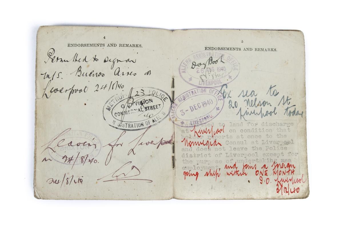 Legitimasjon og reiseløyve som har tilhørt Sverre K. Andersen, datert 24. juni 1940