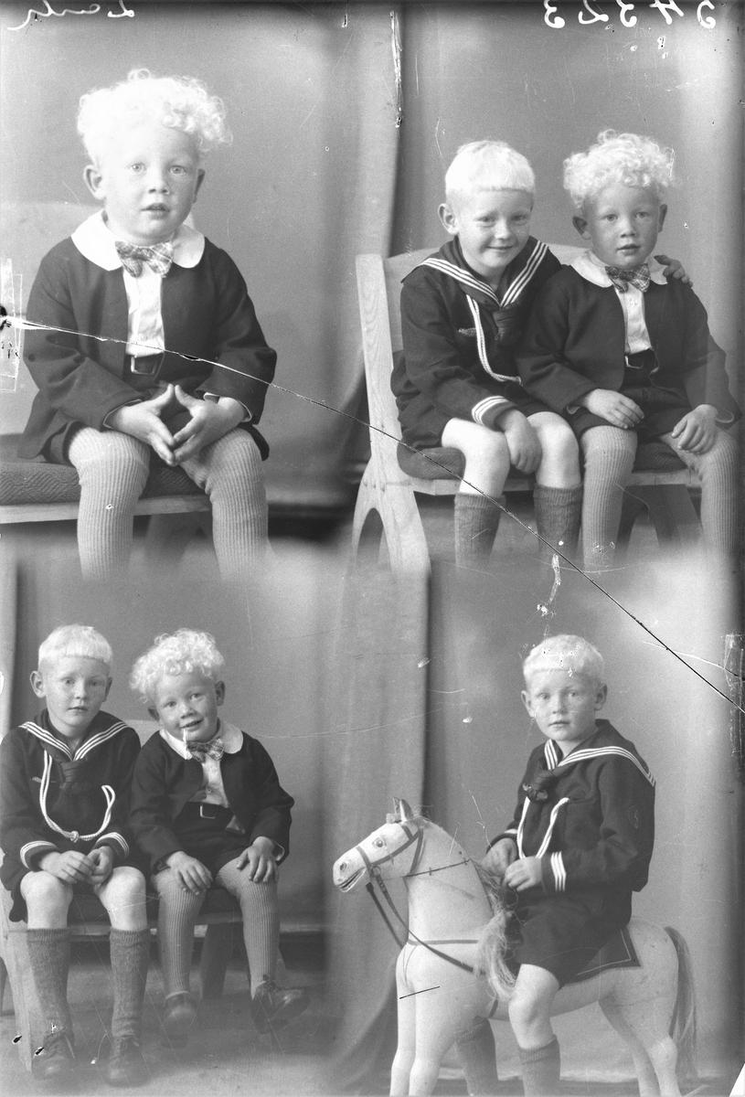 Portrett. Gruppebilde. To unge gutter. En ung gutt med mørk dress, mørk kortbukse, hvit skjorte, rutet sløyfe og farget strømpebukse. En ung gutt i mørk marineuniform, mørke kortbukser og farget knestrømper. To foto sammen og to foto hver for seg. Bestillt av Johannes Danielsen. Røvær