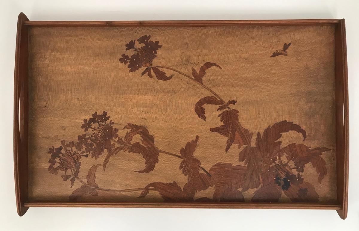 Rektangulært serveringsbrett i tre. Platen er dekorert med intarsia som viser et blomstermotiv med et innsekt i bakgrunnen. Motivet kan identifiseres ut ifra museets hovedkatalog 1899-1909, hvor brettet omtales som verveine (fr. Jernurt). Thiis oppgir at intarsia-arbeidene består av australske tresorter.  Brettet innrammes av forhøyede lister, hvorav de to på kortsidene er svakt buet med utskårede håndtak.