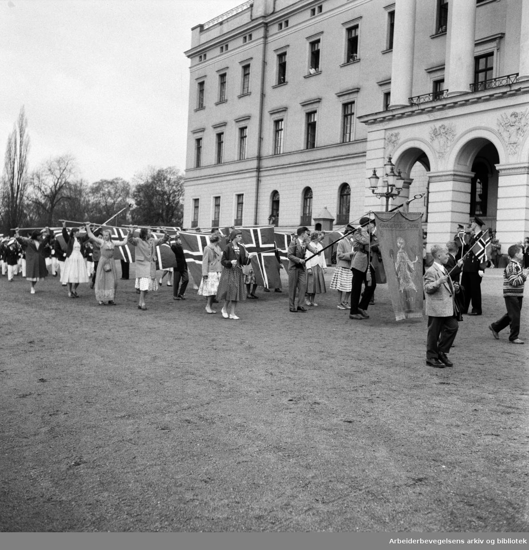 Barnetoget passerer slottet. Flaggborg. Fanen til Gamlebyen Skole. 17. mai 1957.