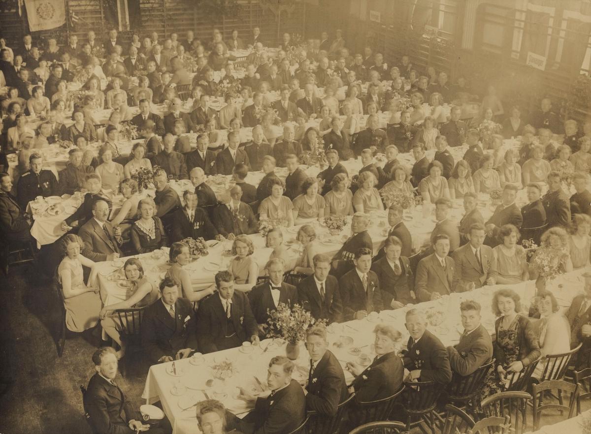 Festmiddagen i turnhallen i Haugesund ved Kretsturstevnet i 1936