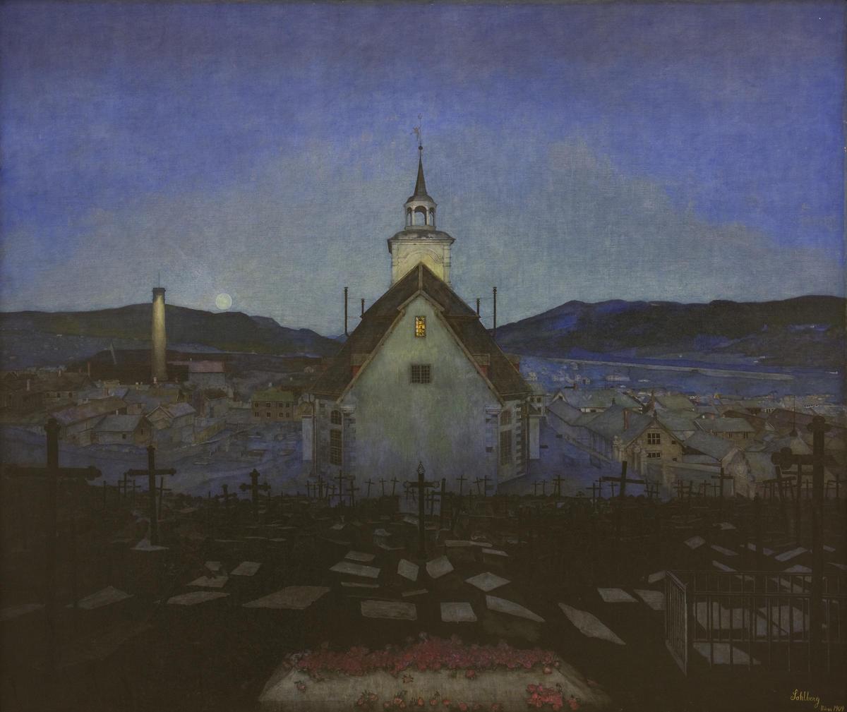 Harald Sohlberg, Natt (Røros Kirke), 1904. Trondheim kunstmuseum. (Foto/Photo)