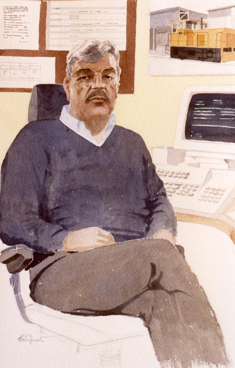 Helmut Pulins. 1991.12.12. AGEVE. Georg Englunds akvareller av/till arbetarna i Gävle när AGEVE flyttade 1993. En utställning i Paris 1993. Akvarellerna ställdes även ut i lunchrummet på AGEVE.