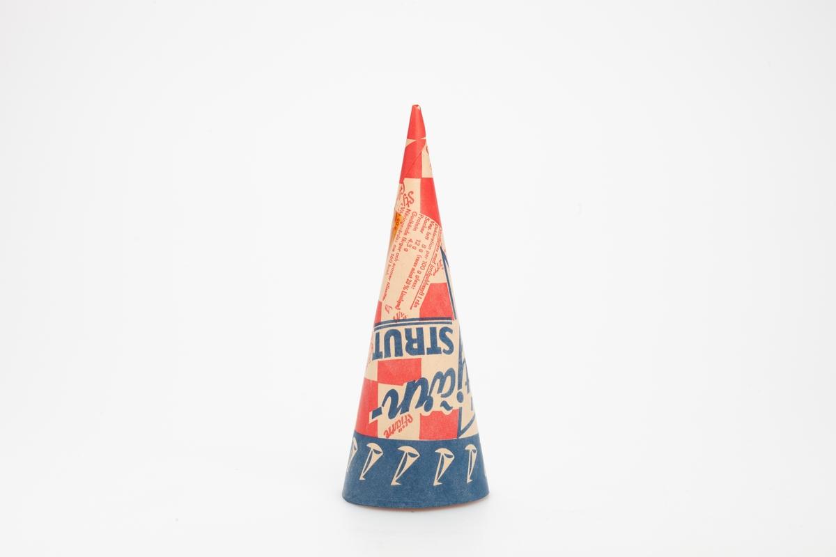 Kjegleformet iskrempapir (kremmerhus) i gråpapir, trolig en prøve. Kremmerhuset er med farger på utsiden, og matt uten farge (gråpapiraktig) på innsiden. Rutenettmønster i rødt og gråpapirfarge. En blå bord øverst med siluetter av seilbåter. Et stjernemotiv i forbindelse med teksten som er plassert over rutenettet.