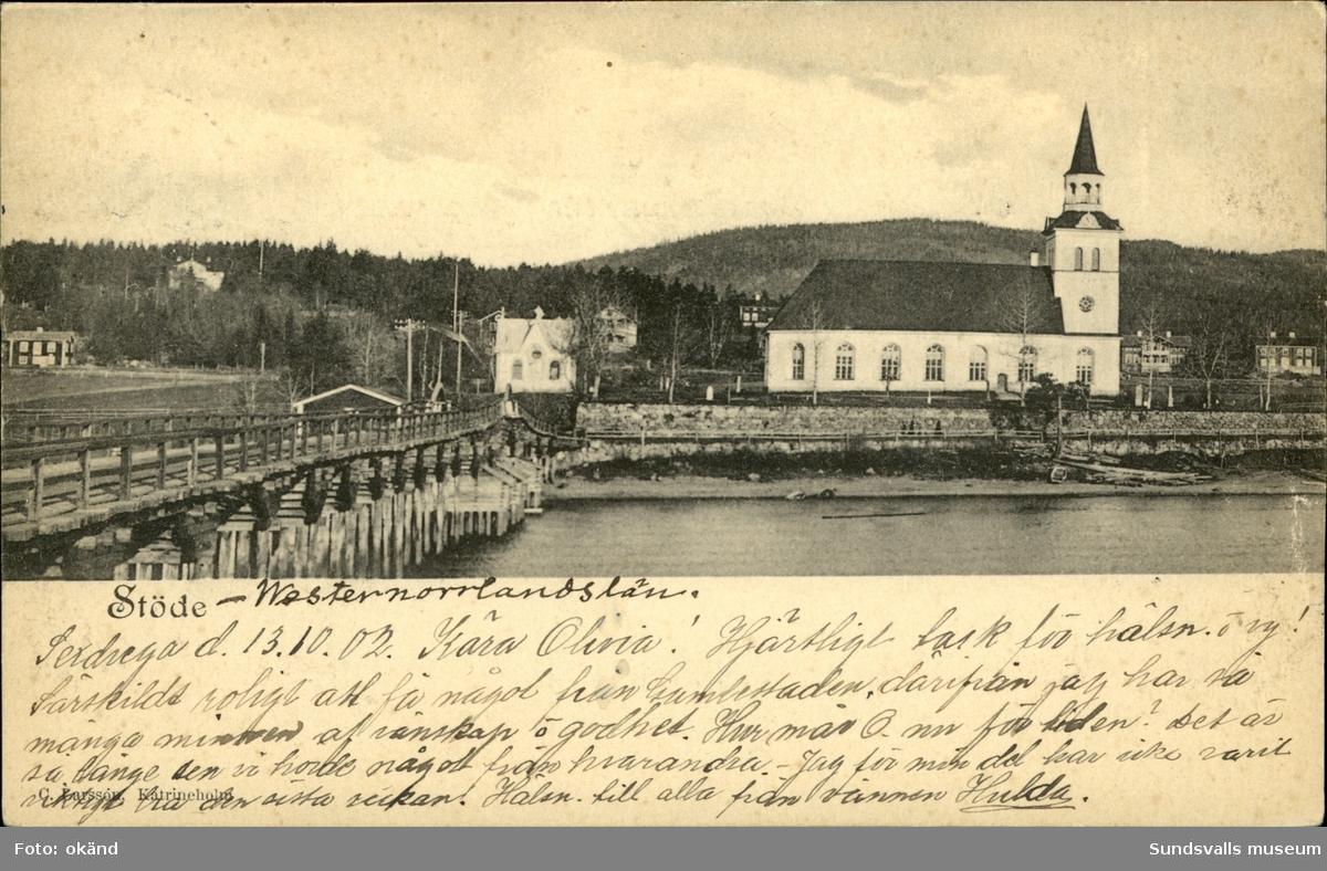 Vykort med motiv över kyrkan i Stöde.