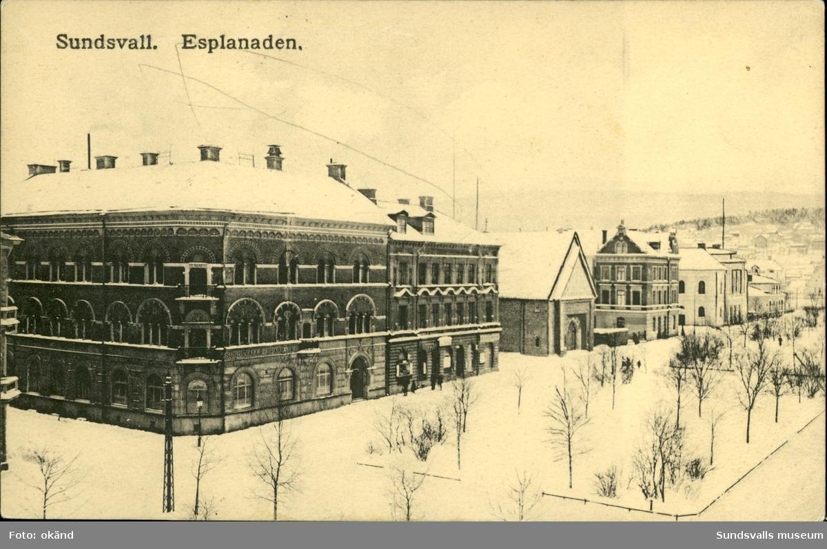 Vykort med vintermotiv över Esplanaden i Sundsvall.