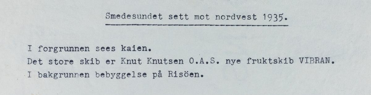 Smedasundet sett mot nordvest, 1935.