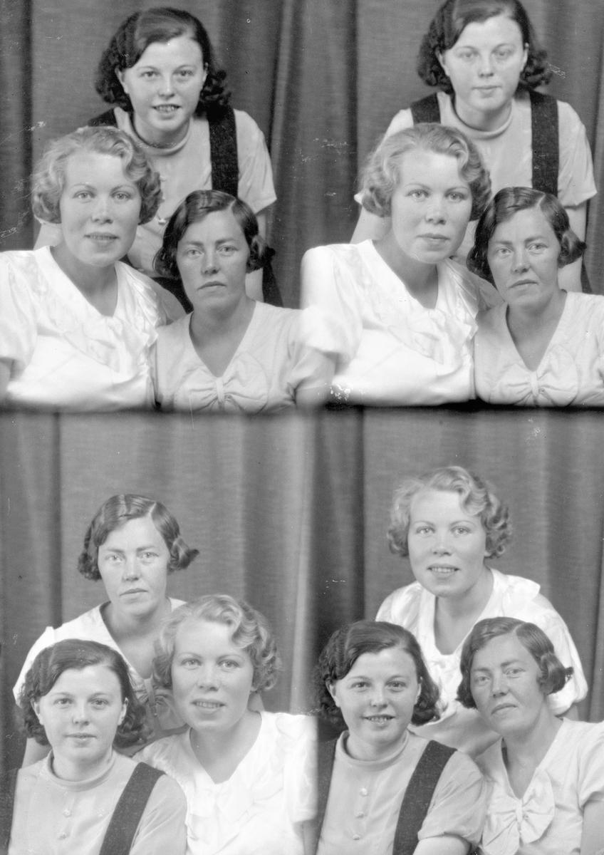 Portrett. Tre unge kvinner. Bestilt av Frk Karin Fosen Rossebø