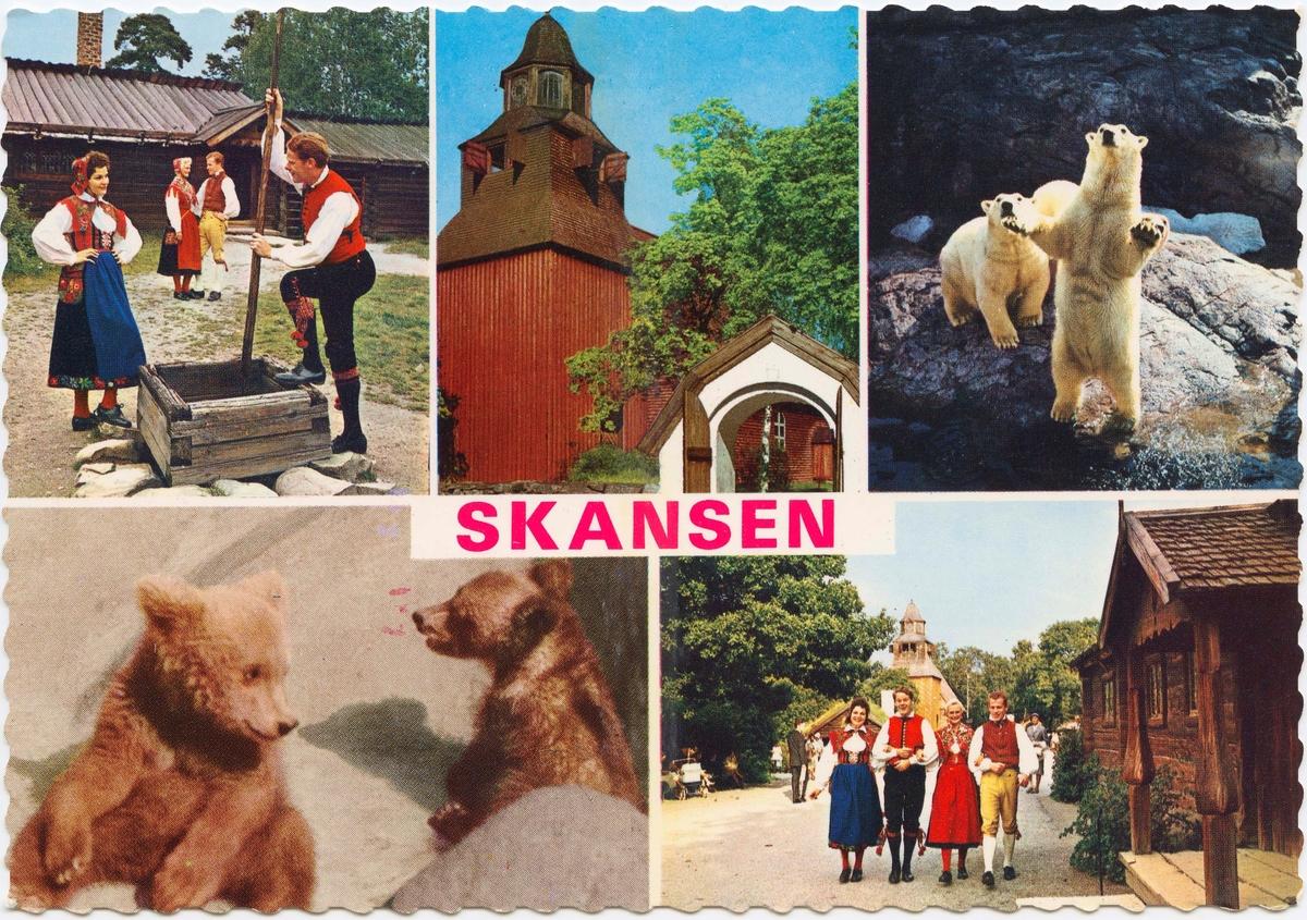 Vykort med motiv från Skansen. Vykort med flera motiv från Skansen.