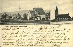 Vykort med motiv över gamla och nya kyrkan på Alnö.