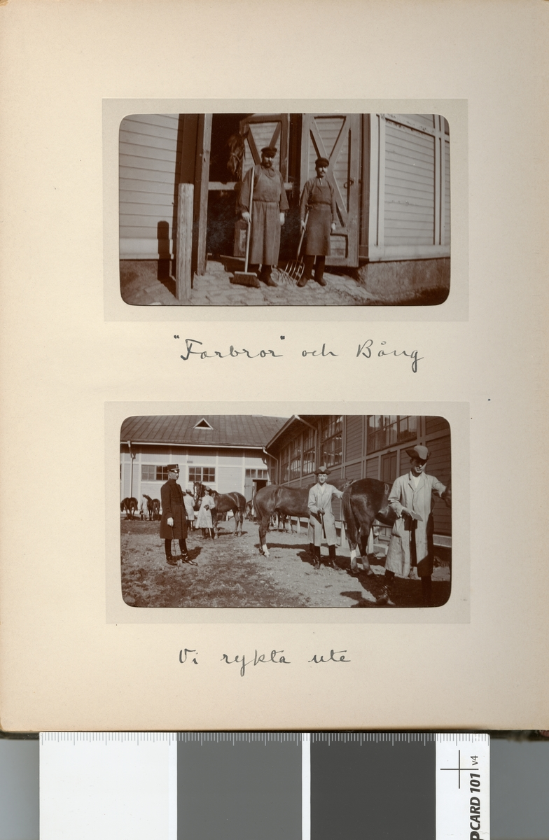 """Stallpersonal på Kavalleriskolan, """"Farbror"""" och Bång."""