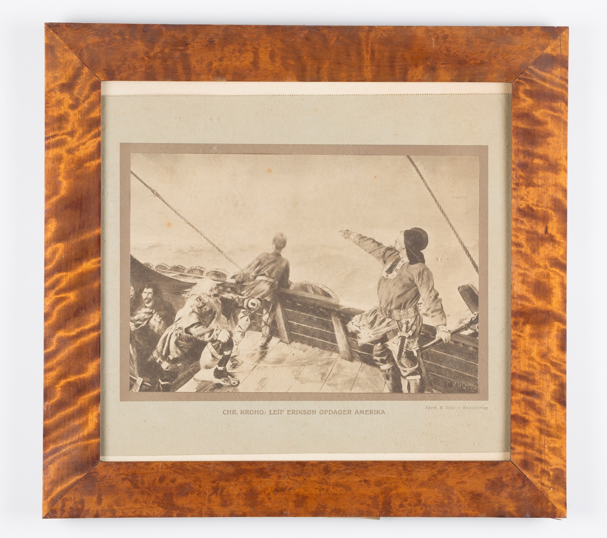 Blyanttegning i ramme. Leif Eriksøn opdager Amerika. Mahogny ramme. Tegnongen er innmontert i en paspartou